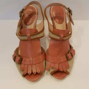 Frye Ramsey Kilte tan canvas leather sandals